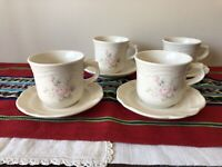 Set of 4 Pfaltzgraff Pink Tea Rose Stoneware Tea Cups Coffee Mugs & Saucers USA