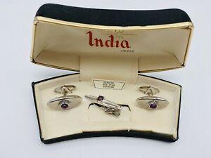 Vintage Swank Star Of India Cufflinks Tie Clip Tac Genuine Red Star Sapphire