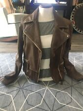 Classic Women's brown All Saints classic leather motorcycle jacket, size 12