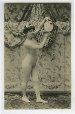 c 1910 French Risque Body Stocking NUDE LADY MUSICIAN Music photo postcard