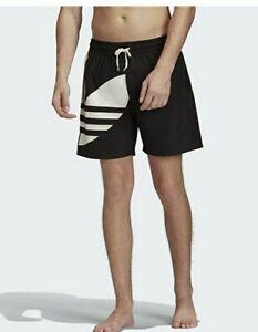 Adidas Originals Big Trefoil Swimsuit Shorts Trunks Black Mens Size S ZP-3641