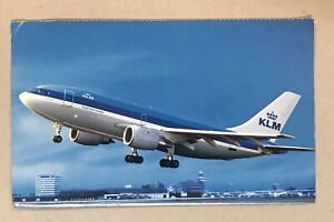 1990's KLM Royal Dutch Airlines postcard - Airbus A-310 used!!! Singapore stamps