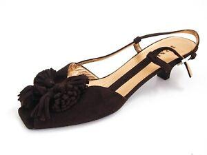 Prada Slingback Sandals Low Heel Brown Suede Womens Size US 9.5 EU 39.5 $580