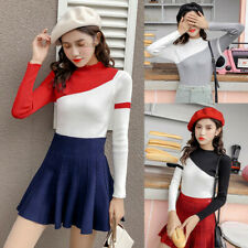 Women Color Block Stretch Knitted Sweater Long Sleeve Jumper Pullover Blouse Top