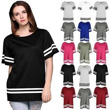 Womens Varsity T Shirts Ladies Sleeve Stripe Baggy Oversize Baseball Top 8-26