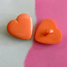 20 Heart Shape Kid Sweater Craft Girl Sewing Buttons 16mm Orange K453
