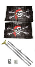 3x5 Jr Pirate Surrender The Booty 2ply Flag Aluminum Pole Kit Set 3'x5'