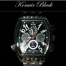 MENS VAAN KONRAD KORSAIR WATCH BLACK FACE AUTOMATIC SUN MOON DIAL BRACELET MODEL