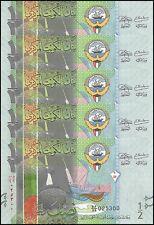 Kuwait 1/2 Dinar X 5 Pieces (PCS), 2014, P-30, UNC, REPLACEMENT