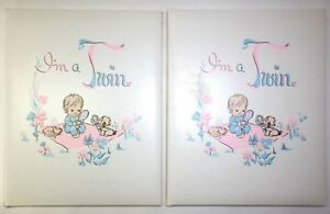 OUR TWINS I'm A Twin Baby Books C. R. Gibson Set of 2 Books 1956 Unused