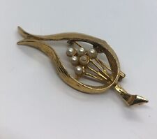 Vintage Brooch Pin Signed Gerry's Faux Pearls Leaf Gold Tone