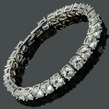 26x6mm Round Fine Topaz Dainty Gemstone 18K White Gold Plated Tennis Bracelet