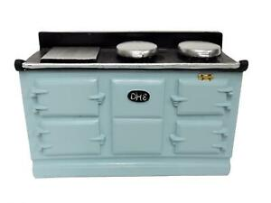 Dolls House 4 Oven Light Blue Aga Stove Cooker Miniature Kitchen Furniture 1:12