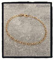 Bracelet Maille Alternée Figaro 18CM Plaqué Or 18 Carats 750/1000