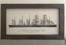 Canvas Artwork Solid Wood Ship Barker and Stonehouse Great Eastern 1858 Vintage