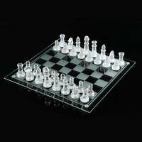 GLASS BOARD TRADITIONAL CHESS SET GAME UNIQUE BEAUTIFUL GIFT 32 PIECES FUN PARTY