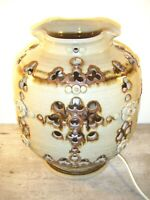 Large Vintage Mid Century Studio Art Pottery Lamp Base -Floral