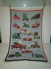 New listing Vintage Ulster All Pure Linen Tea Towel Automobiles Cars Made In Ireland 31x19