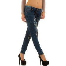 Markenlose Boyfriend Damen-Jeans aus Denim mit niedriger Bundhöhe