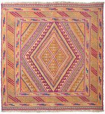 "3'6"" x 3'8"" Hand-Knotted Jewels Color Mashwani Kilim Rug (118 x 111 cm) - No. 50"