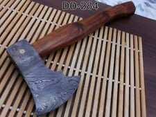 "14.5"" Long Damascus steel Log splitter camping Axe, Natural wood, Leather sheath"