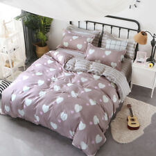Hearts and Stripes Print Quilt Cover Pillow Case King Queen Double Duvet Covers