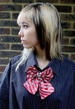 KITTY SKULL BOW KAWAII JAPAN SCHOOL GIRL RED SATIN PRE TIED BOW TIE