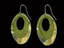 Elegante Oro Forma Ovale con diamante Sabbia Goccia Orecchini E290