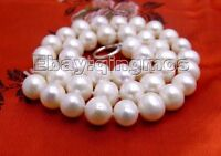 SALE Big 11-12mm Round WHITE A+ Natural Freshwater Pearl necklace-5257_12mm