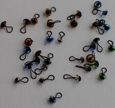 Glass Eyes 4mm - Needle Felting / Miniature Bears - (Looped back easy to sew)