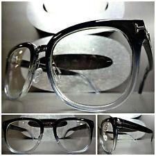 Men's Women VINTAGE RETRO Style Clear Lens EYE GLASSES Black & Transparent Frame