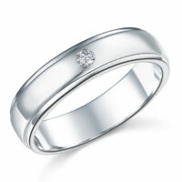 Men's Solid 925 Sterling Silver Plain Engagement Wedding Band Ring