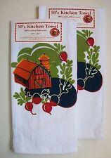 Set of 2 GROWN ON THE FARM Cotton Flour Sack Towels Barn & Veggies