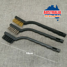 3PCS MINI WIRE BRUSH SET BRASS STAINLESS NYLON BRUSHES