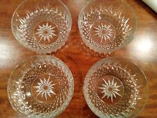 Lot of 4 Vintage Arcoroc USA/France Diamond Starburst Pressed Glass Bowls