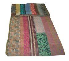 Ethnic Sari Kantha Quilt Vintage Patchwork Silk Bedding Queen Bedspread Throw