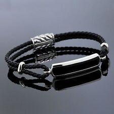 David Yurman Jewelry Sterling Silver Black Onyx Leather Braided Men S Bracelet