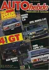 AUTO HEBDO n°371 02/06/1983 ALFA GTV6 OPEL MONZA TOYOTA SUPRA FORD CAPRI 2.8i
