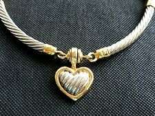 Vintage STOCKO Cable Chain Heart Pendant Chocker Necklace Snap Clasp