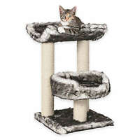 ISABA 2 Perch CAT TREE TOWER Black White Fur FREE SHIPPING