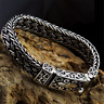 Solid 925 Sterling Silver Mens Bracelet Heavy Chain Clasp Buckle Cuff Wristband
