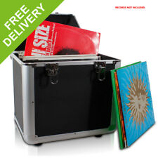 "PD LP 100 x 12"" Vinyl Record Box Storage Flight DJ Case Stackable Media BLACK"