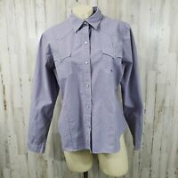 Roper Womens Button Front Shirt L Blue Pearl Snap Long Sleeve 100% Cotton LL21