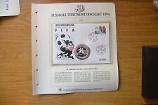 BUSTA FILATELICA MONETA TONGA 1 PA'ANGA 1992 ARGENTO MONDIALI CALCIO USA 1994 Y