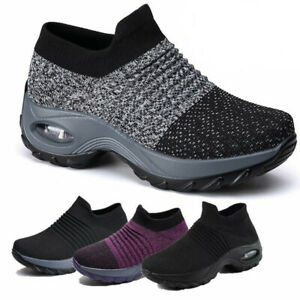 Ladies Trainers Womens Air Cushion Sneakers Sock Shoes Comfy Running Gym Shoes