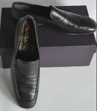PRADA LUNA 1537 BLACK CALF LEATHER SLIP ON LOAFERS - UK 9.5 / EUR 43.5 / US 10.5