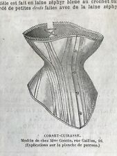 French MODE ILLUSTREE SEWING PATTERN Nov 7,1875 CORSET CUIRASSE, FAILLE DRESS