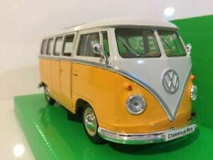 1963 Volkswagen T1 Bus Yellow/White Welly 22095Y Scale 1:24