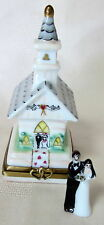 ROCHARD LIMOGES BRIDE GROOM CHURCH HAND PAINTED FRANCE BNIB PORCELAIN HINGED F/S