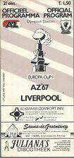 AZ'67 ALKMAAR V LIVERPOOL F.C 1981/82 EUROPEAN CUP MATCHDAY PROGRAMME